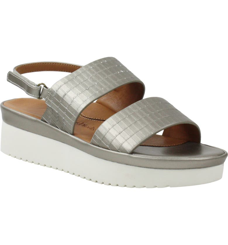 L'AMOUR DES PIEDS Abruzzo Slingback Platform Wedge Sandal, Main, color, PEARLIZED PLATINUM LEATHER