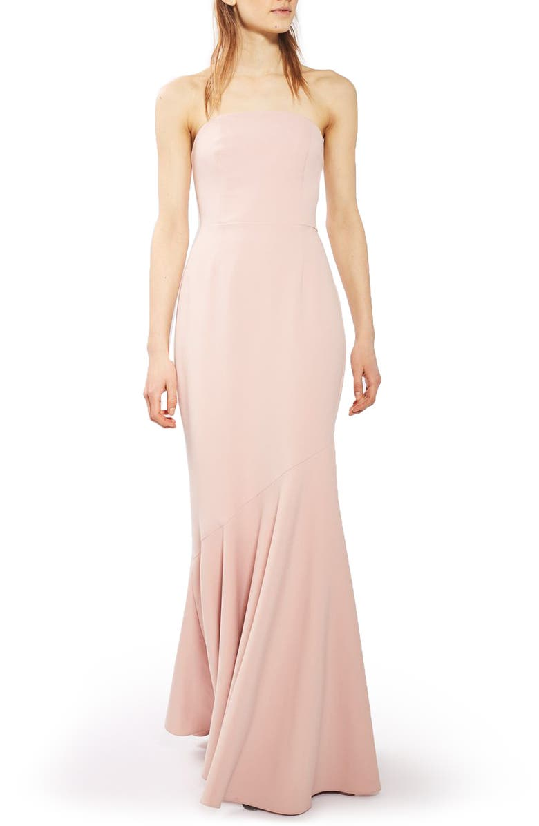 TOPSHOP Strapless Crepe Gown, Main, color, 680
