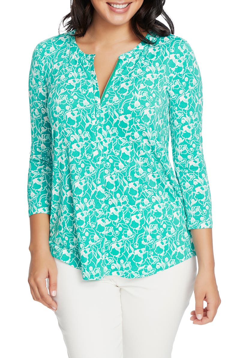 CHAUS Zip Front Floral Print Top, Main, color, AQUA WATERS