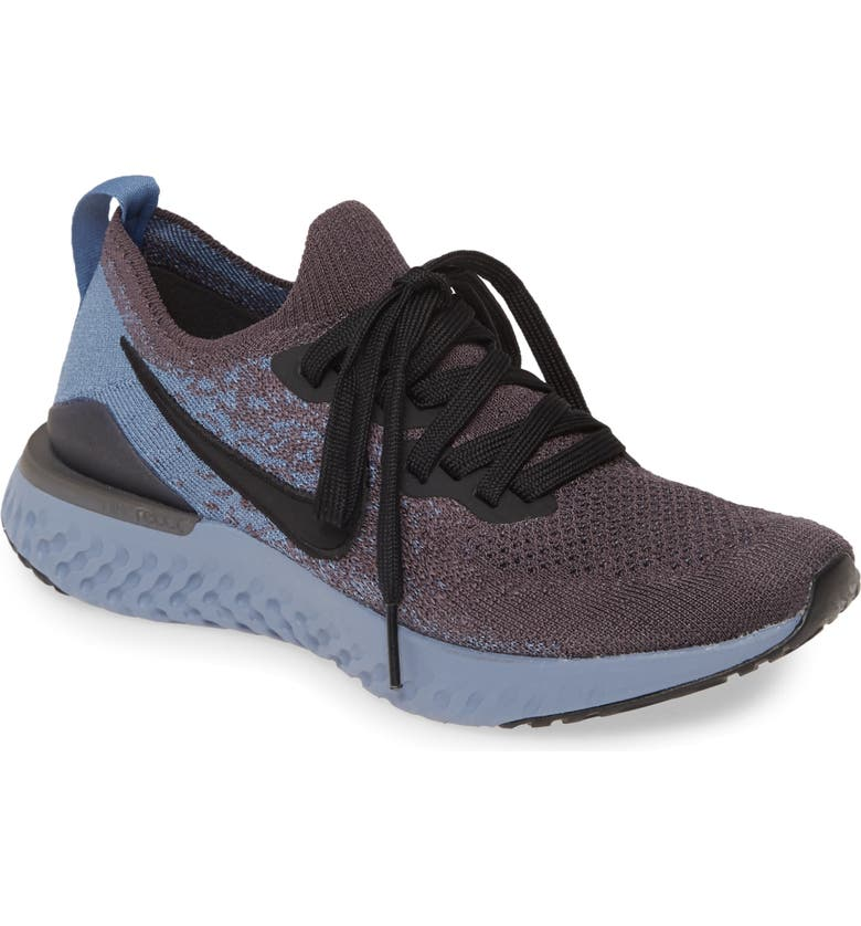 NIKE Epic React Flyknit 2 Running Shoe, Main, color, THUNDER GREY/ BLACK/ OCEAN FOG