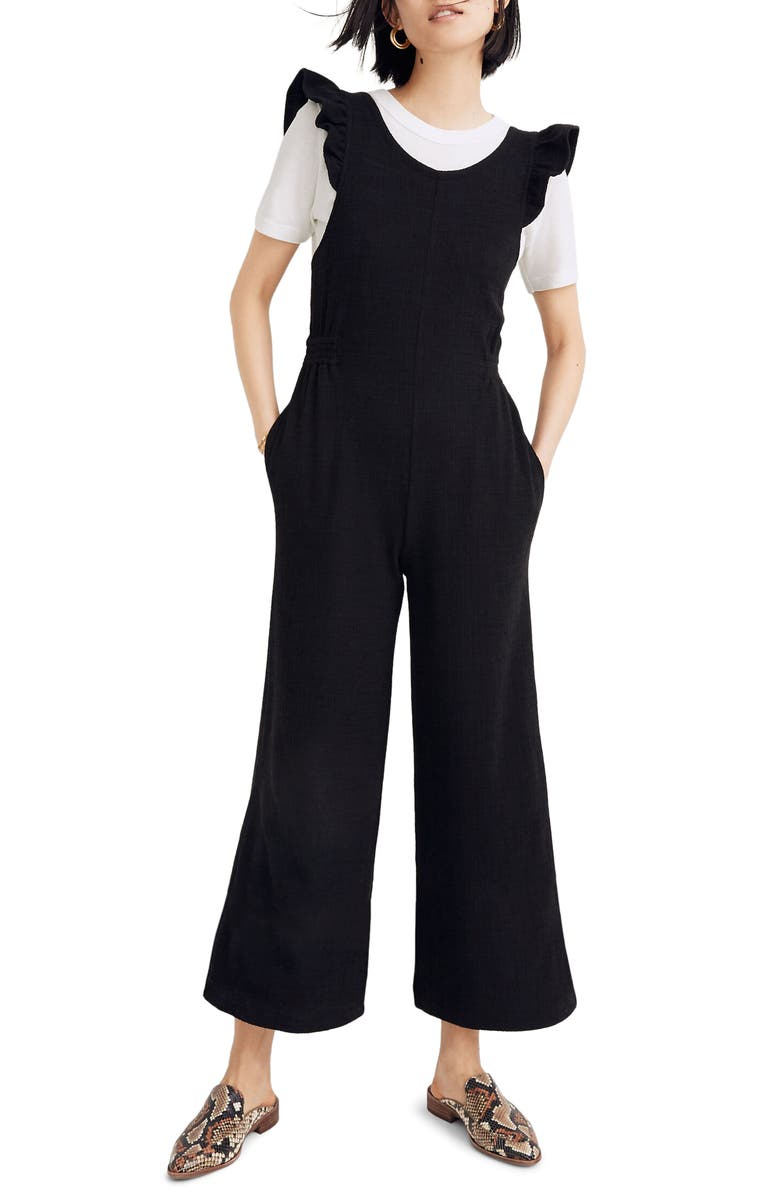 MADEWELL Ruffle Strap Open Back Jumpsuit, Main, color, TRUE BLACK