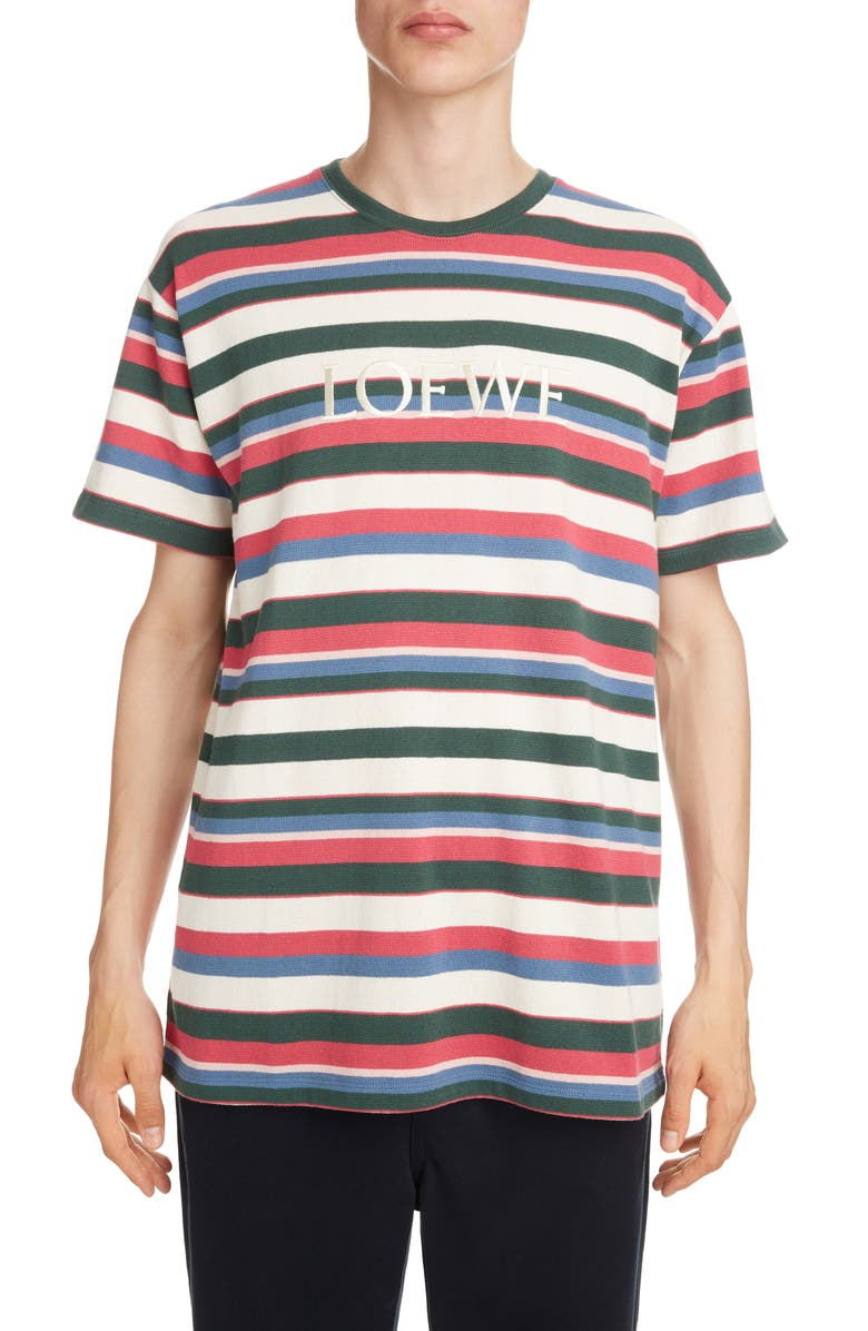 LOEWE Logo Embroidered Stripe T-Shirt, Main, color, MULTICOLOR