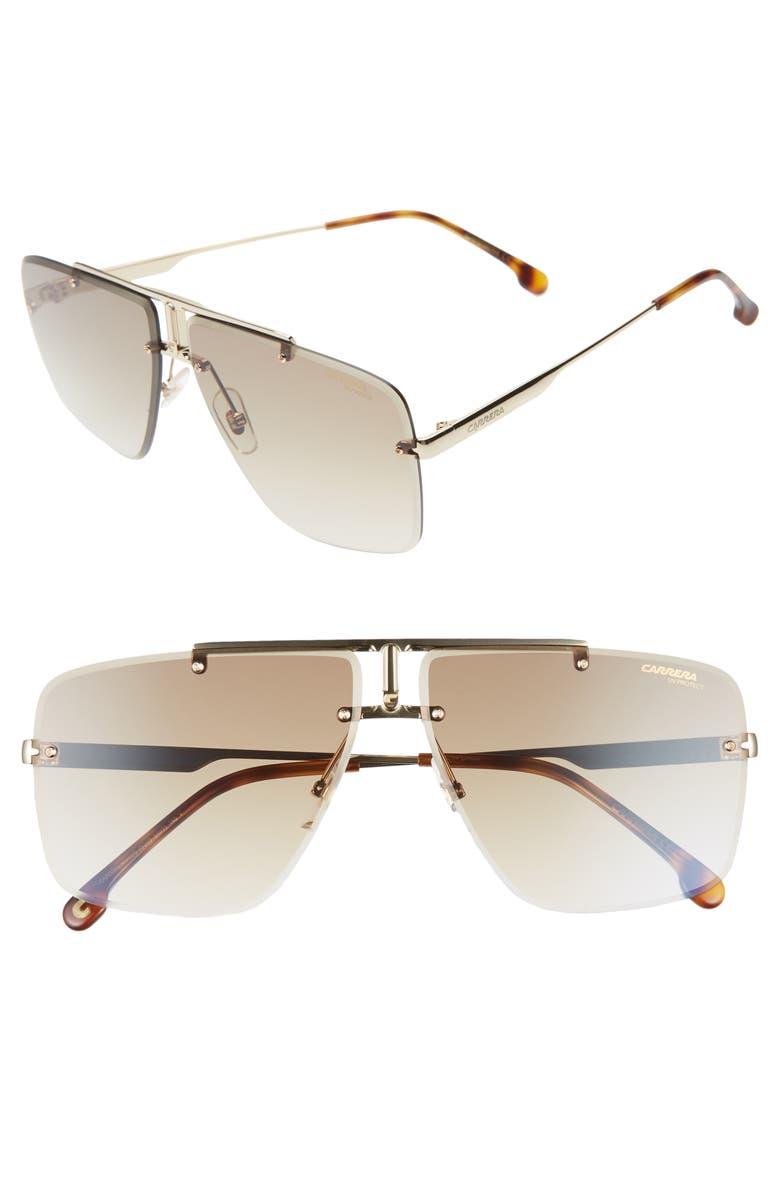 CARRERA EYEWEAR 64mm Navigator Sunglasses, Main, color, GOLD