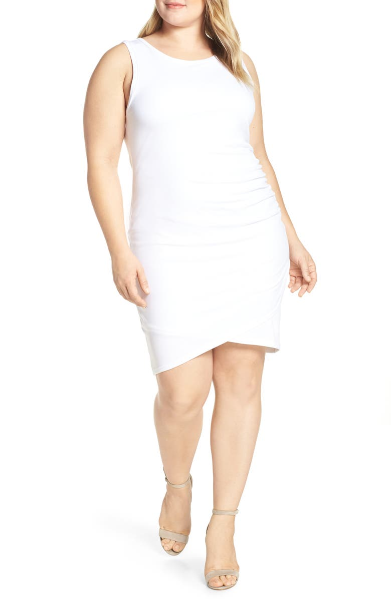 LEITH Ruched Sheath Dress, Main, color, WHITE