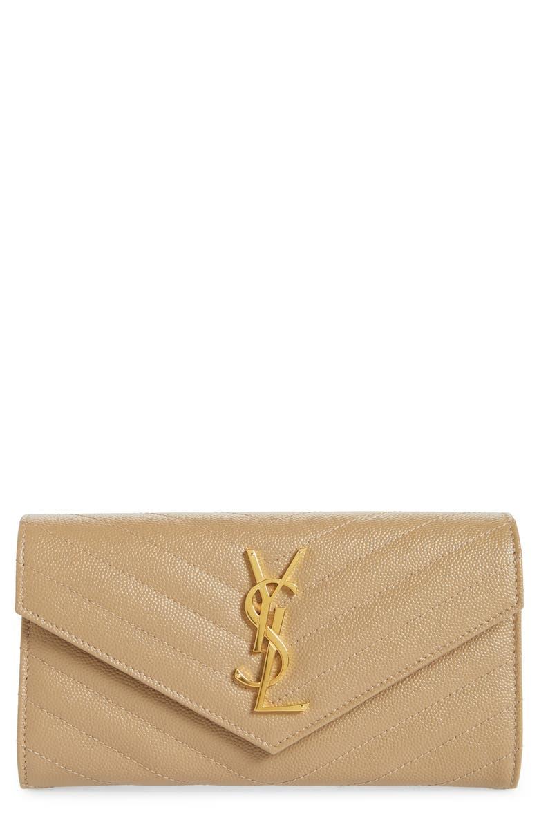 SAINT LAURENT Monogram Logo Leather Flap Wallet, Main, color, LATTE