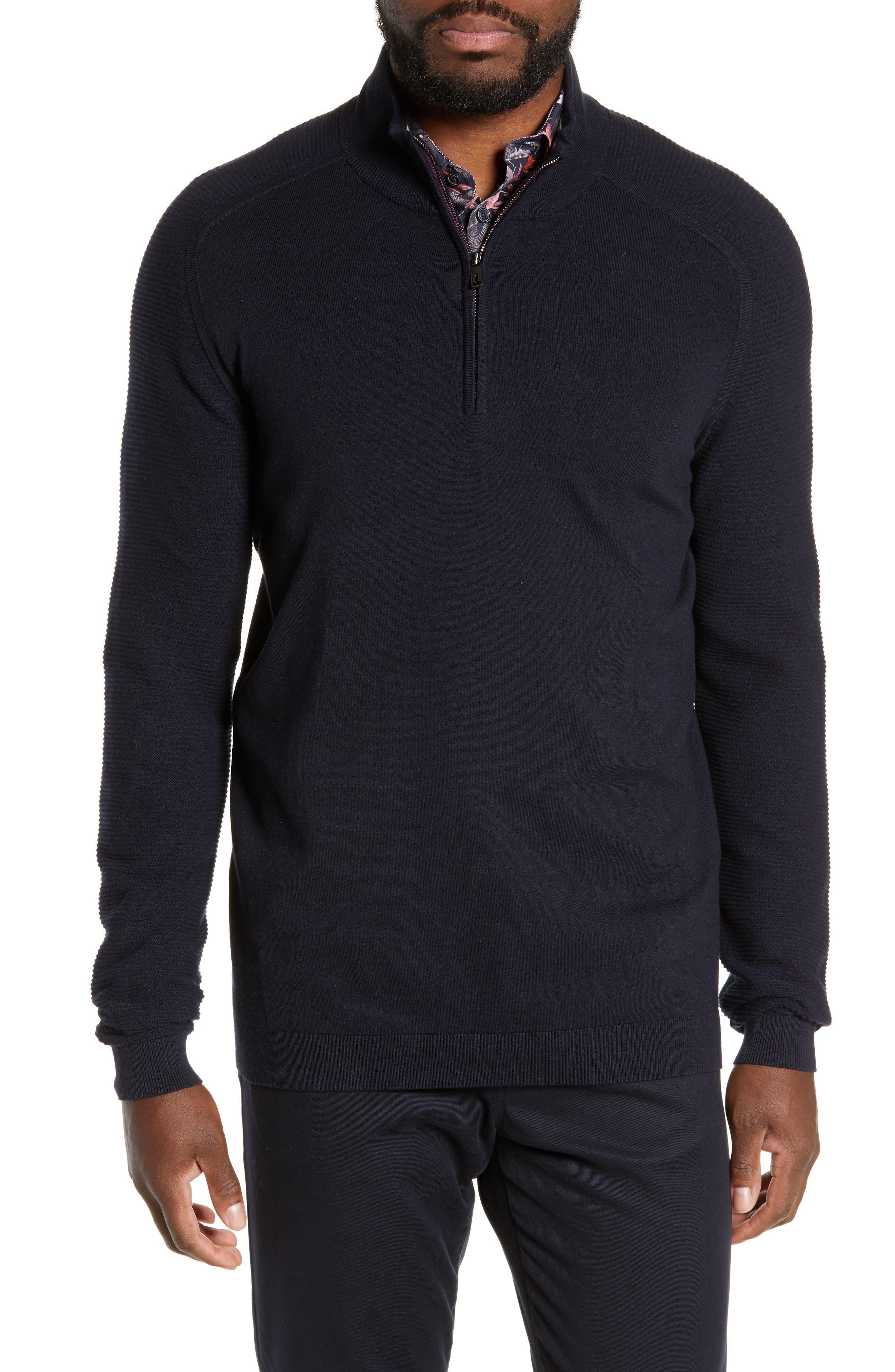 Ted Baker London Justrun Slim Fit Funnel Neck Sweater, Blue