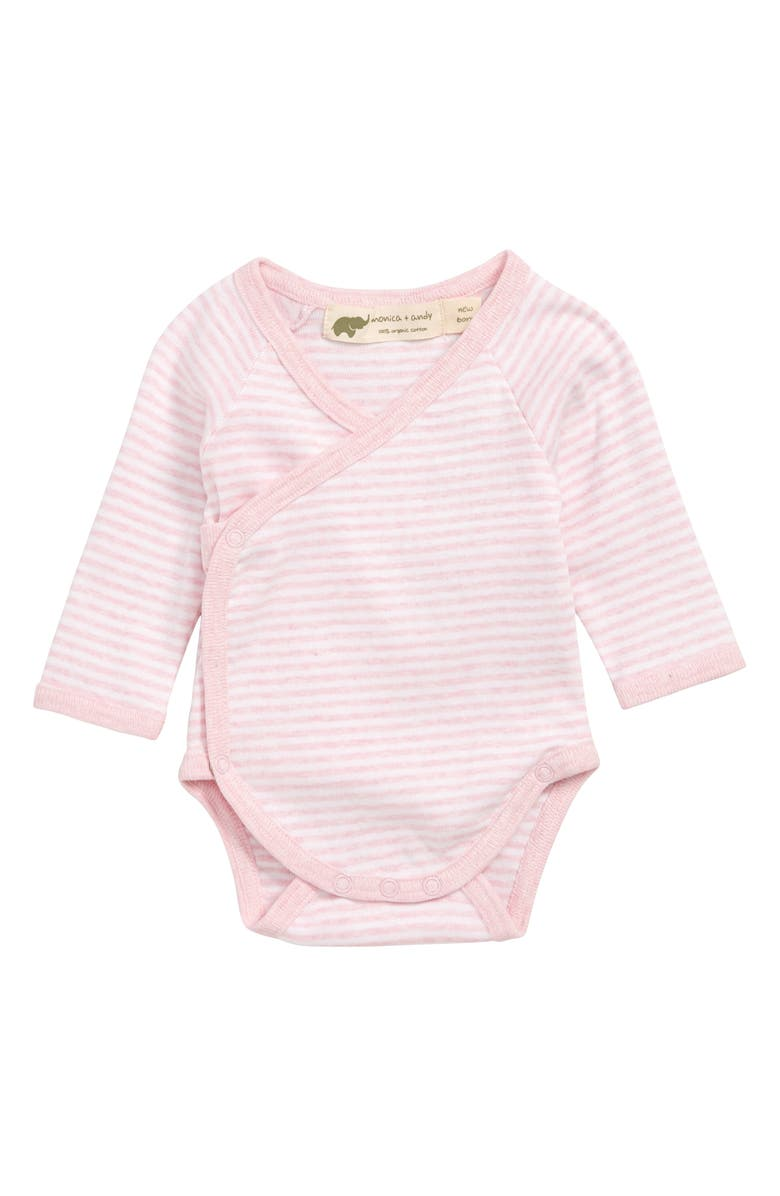 MONICA + ANDY Lucky Stripe Organic Cotton Wrap Bodysuit, Main, color, 650