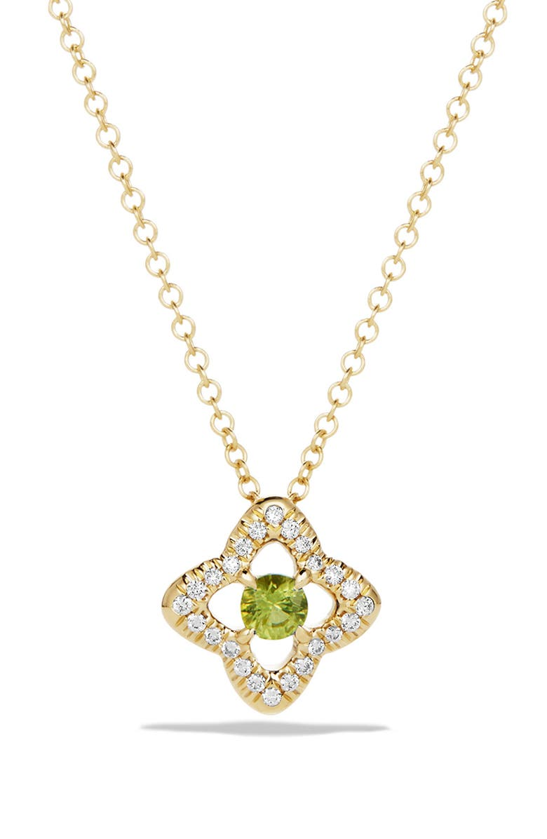 DAVID YURMAN 'Venetian Quatrefoil' Necklace with Diamonds in 18K Gold, Main, color, PERIDOT