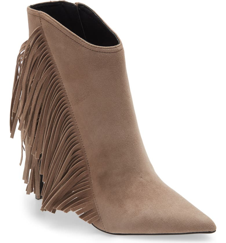 ALLSAINTS Izzy Fringe Pointed Toe Bootie, Main, color, TAUPE SUEDE