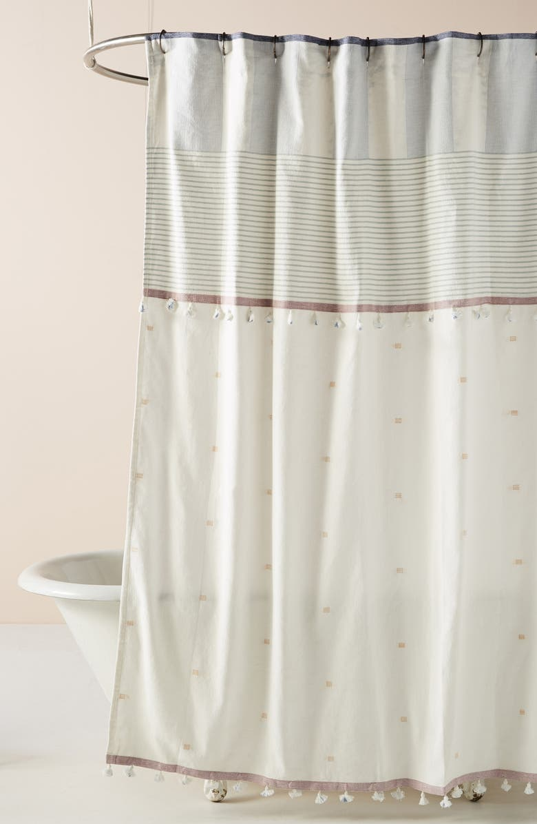 ANTHROPOLOGIE Rayas Shower Curtain, Main, color, BLUE