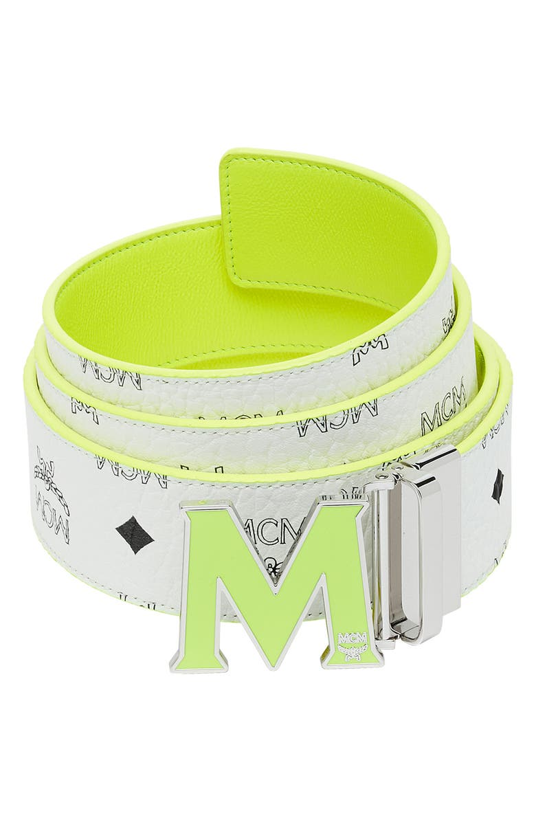 MCM Visetos Reversible Belt, Main, color, WHITE