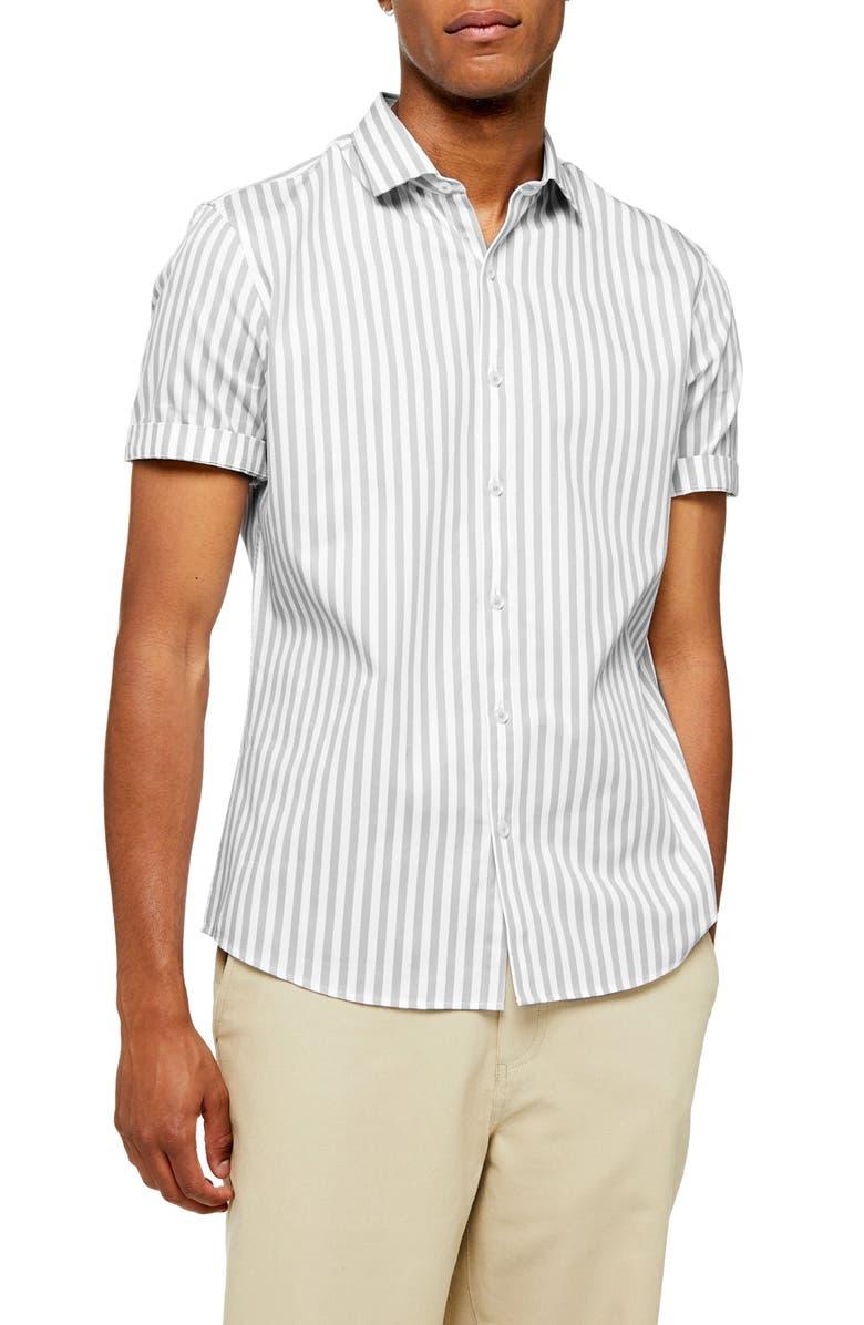 TOPMAN Slim Fit Smart Stripe Short Sleeve Button-Up Shirt, Main, color, GREY