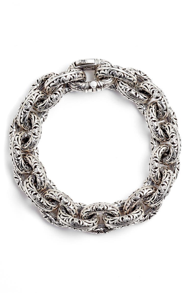 KONSTANTINO Etched Sterling Silver Filigree Bracelet, Main, color, SILVER