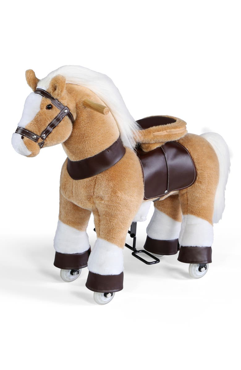 FAO SCHWARZ Ride-On Plush Pony, Main, color, TAN