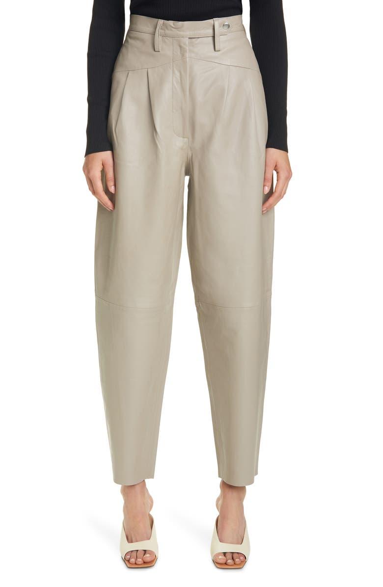 REMAIN BIRGER CHRISTENSEN Marionette Leather Pants, Main, color, VINTAGE KHAKI