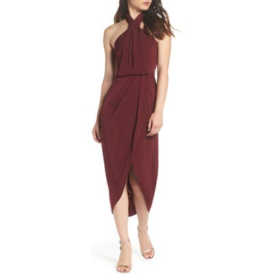 Shona Joy Knotted Tulip Hem Midi Dress, Red