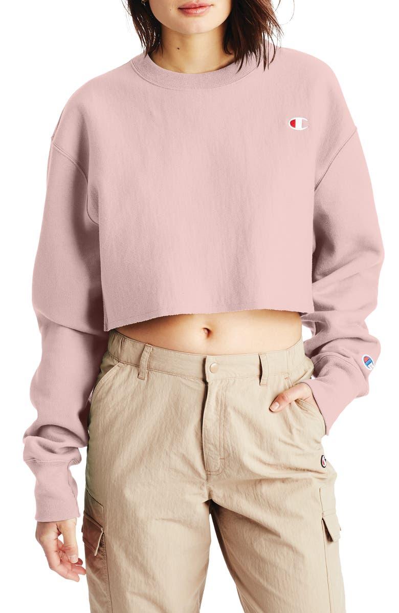 CHAMPION Crop Reverse Weave Sweatshirt, Main, color, HUSH PINK