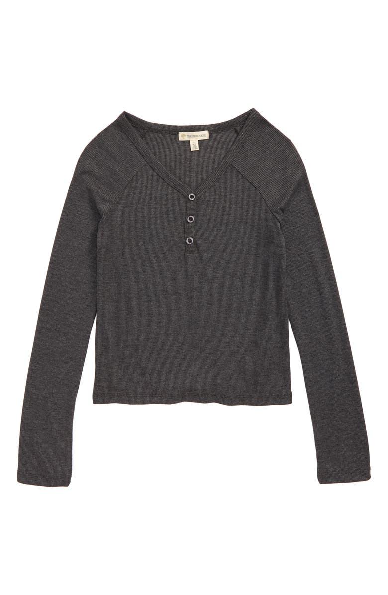 TUCKER + TATE Washed Rib Shirt, Main, color, BLACK