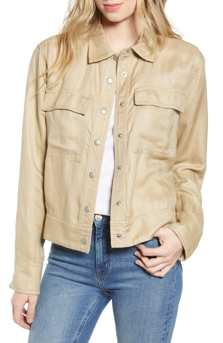 HINGE Crop Utility Jacket, Main, color, TAN NANTUCKET