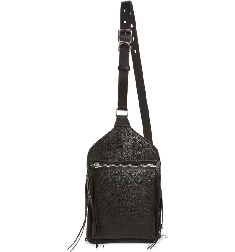 RAG & BONE Elliott Sling Leather Bag, Main, color, BLACK