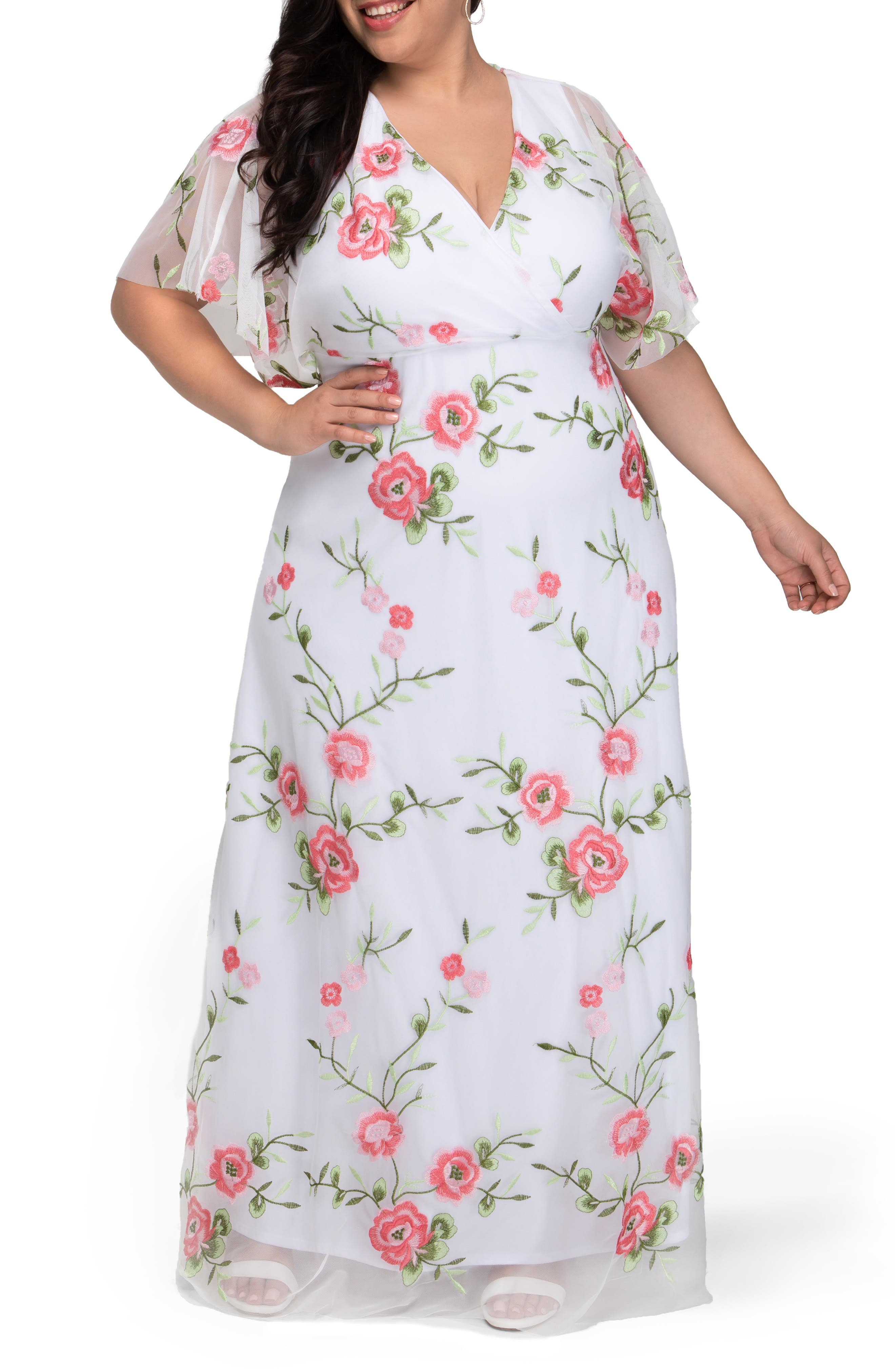 Embroidered Elegance Floral Gown