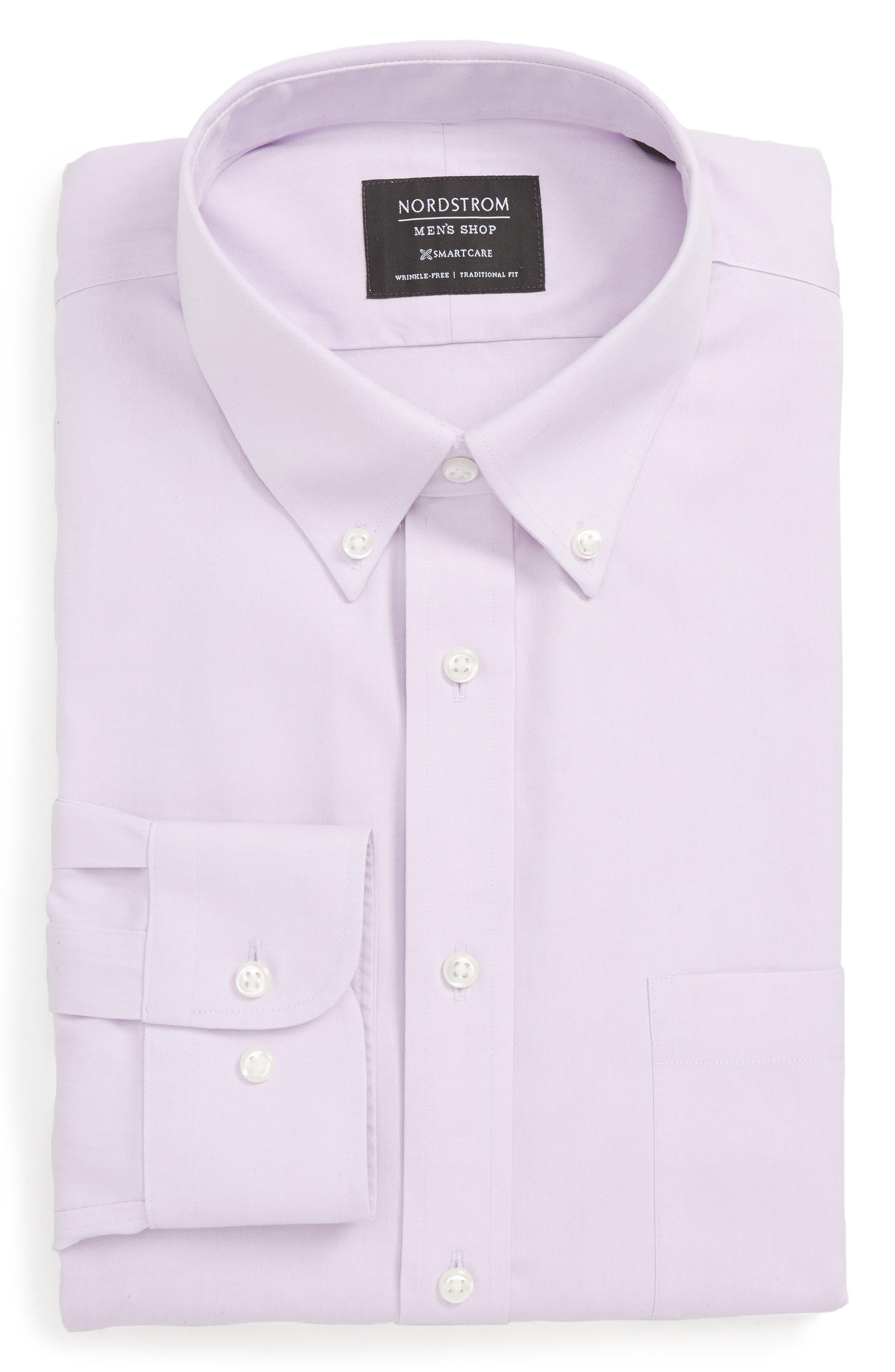 Nordstrom Shop Smartcare(TM) Traditional Fit Pinpoint Dress Shirt, 5.5 34/35 - Purple