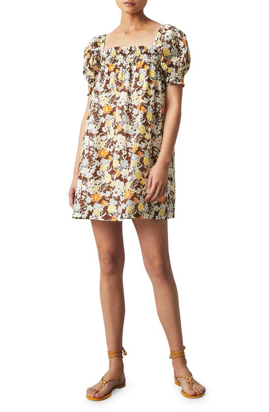 Tory Burch Cottons SMOCKED FLORAL COVER-UP DRESS