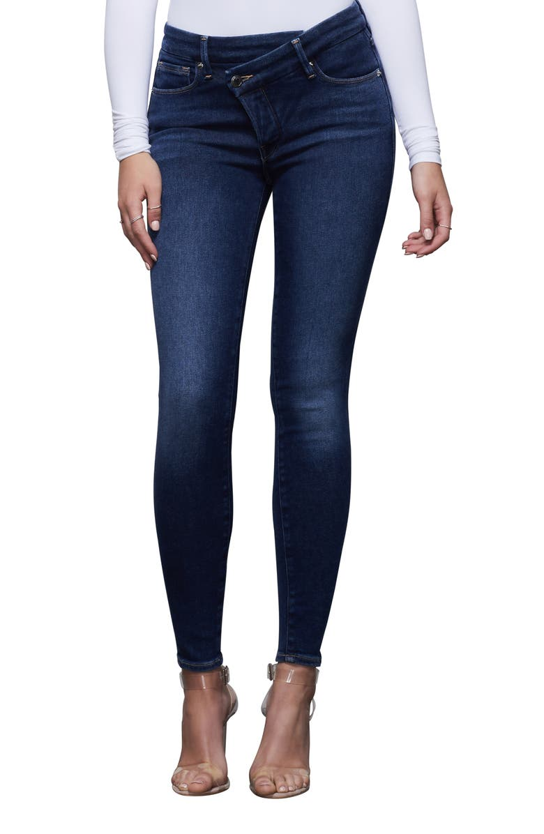 GOOD AMERICAN Good Legs Crossover High Waist Ankle Skinny Jeans, Main, color, 401