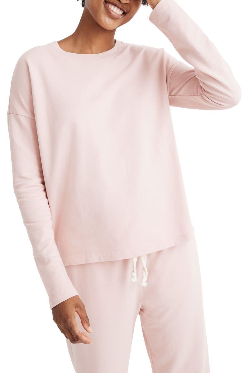 MADEWELL Pajama Sweatshirt, Main, color, PRIMROSE RINK
