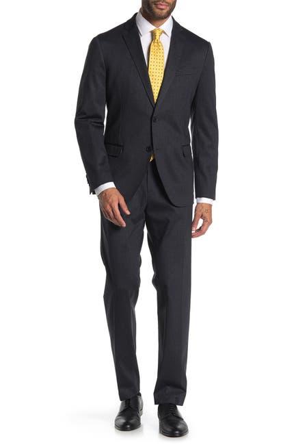 Image of SAVILE ROW CO Grey Chevron Two Button Notch Lapel Knit Trim Fit Suit