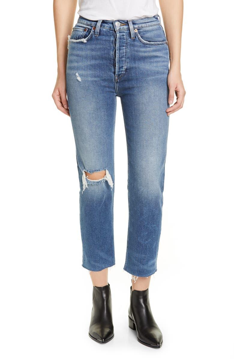 RE/DONE Originals High Waist Ankle Stovepipe Jeans, Main, color, VINTAGE INDIGO DESTROY