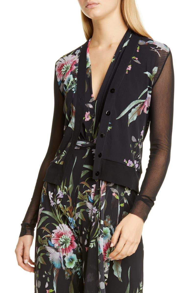 FUZZI Floral Sheer Sleeve Cardigan, Main, color, 001