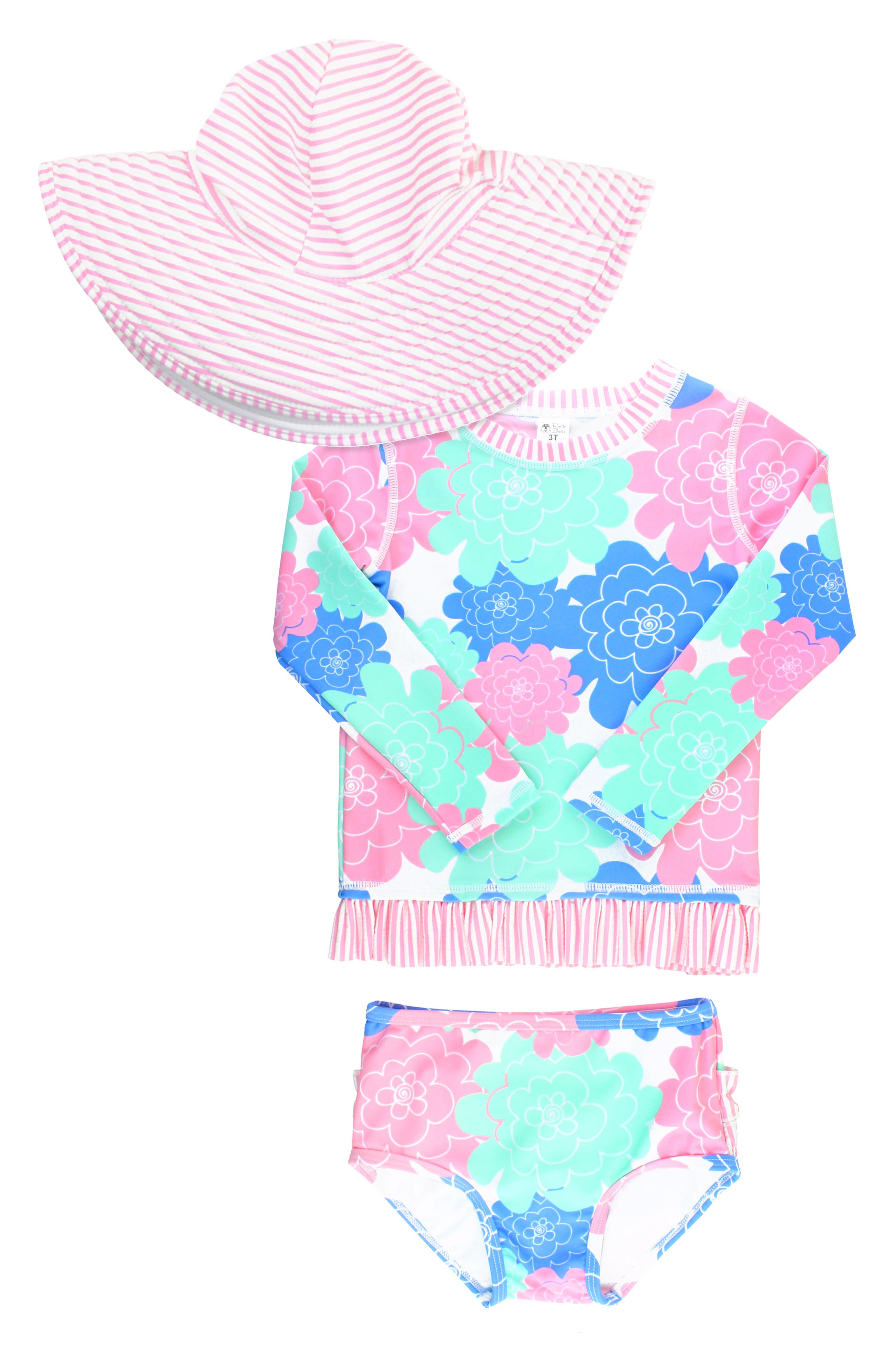 Pretty flowers pattern a swimsuit trimmed in seersucker ruffles and featuring a long-sleeve rashguard and sweet floppy hat for protecting baby\\\'s delicate skin. Style Name: Rufflebutts Petals Two-Piece Rashguard Swimsuit & Hat Set (Baby). Style Number: 5852648. Available in stores.