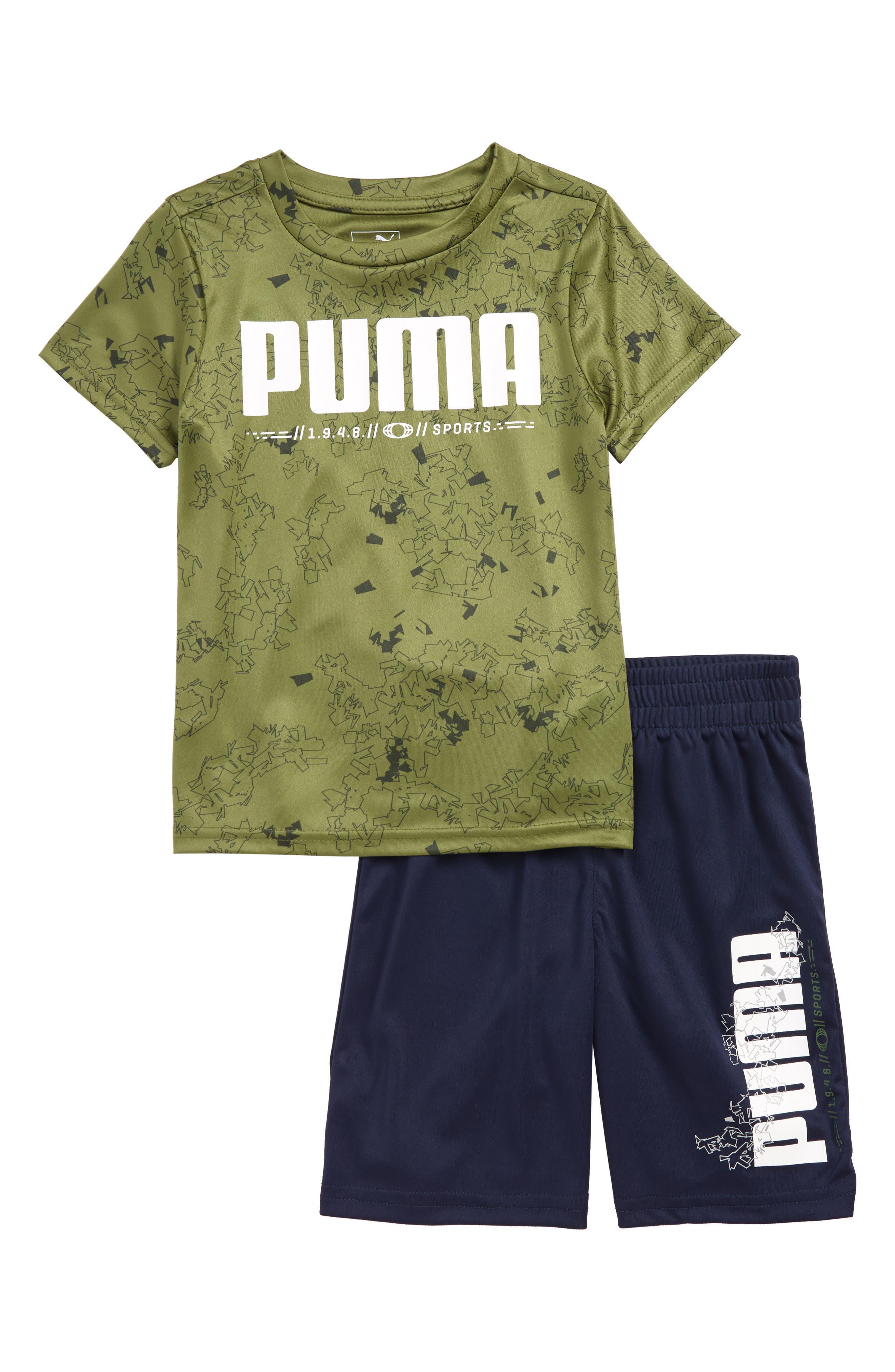 Toddler Boys Puma Logo Interlock Performance TShirt  Shorts Set