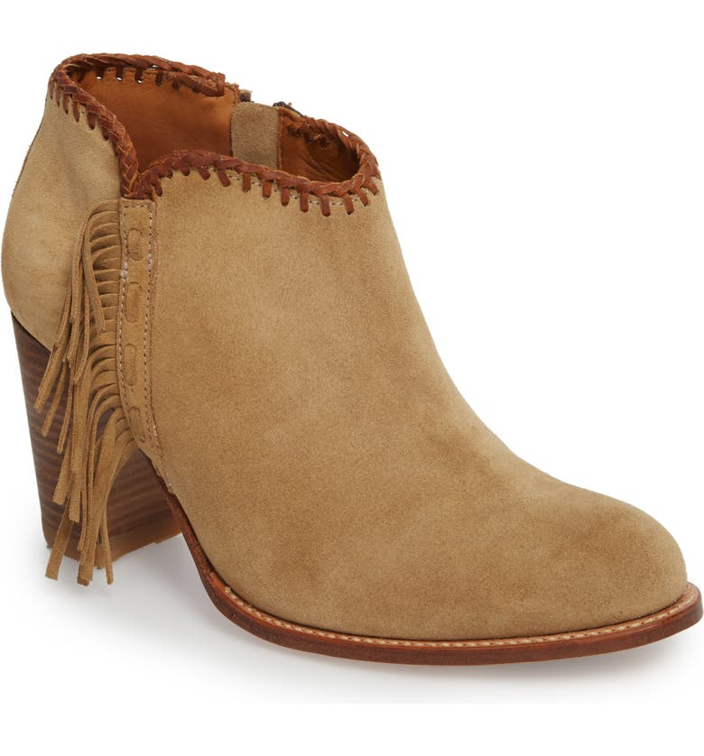 ARIAT Sonya Fringed Bootie, Main, color, TAUPE SUEDE