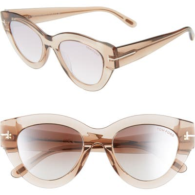 Tom Ford Slater 51Mm Cat Eye Sunglasses - Pink Champagne/ Red To Pearl