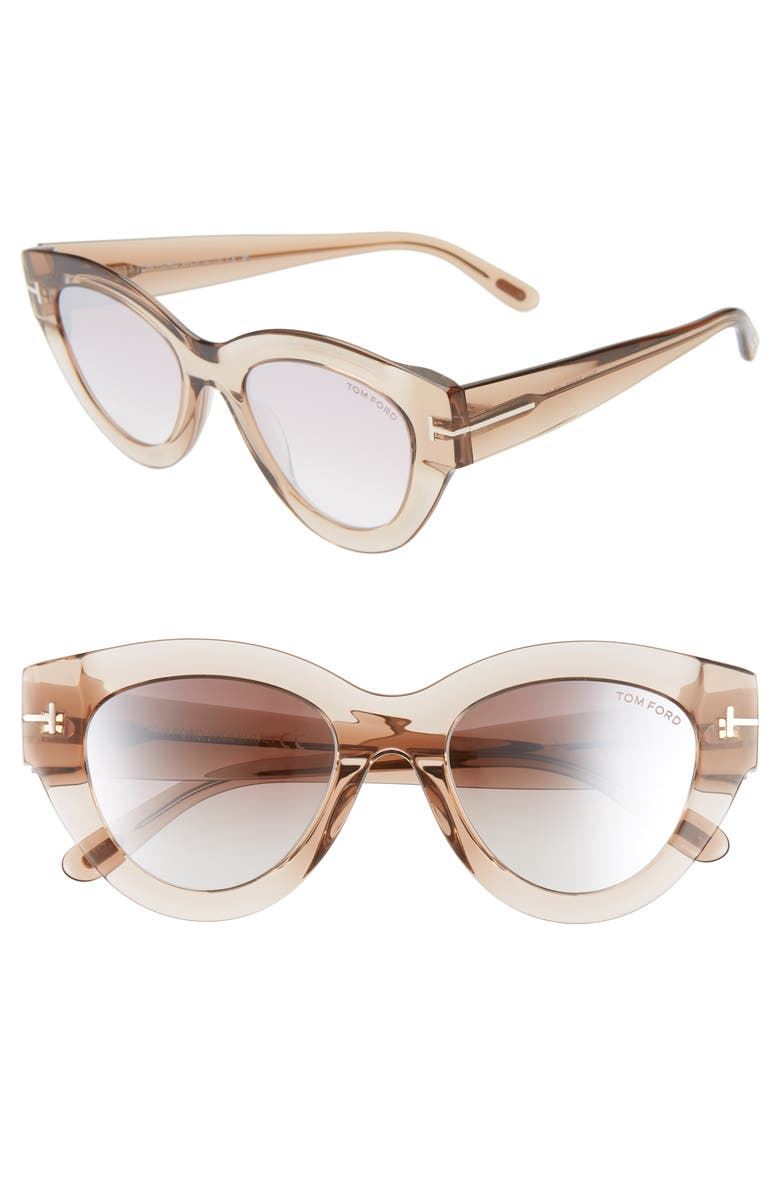 TOM FORD Slater 51mm Cat Eye Sunglasses, Main, color, PINK CHAMPAGNE/ RED TO PEARL