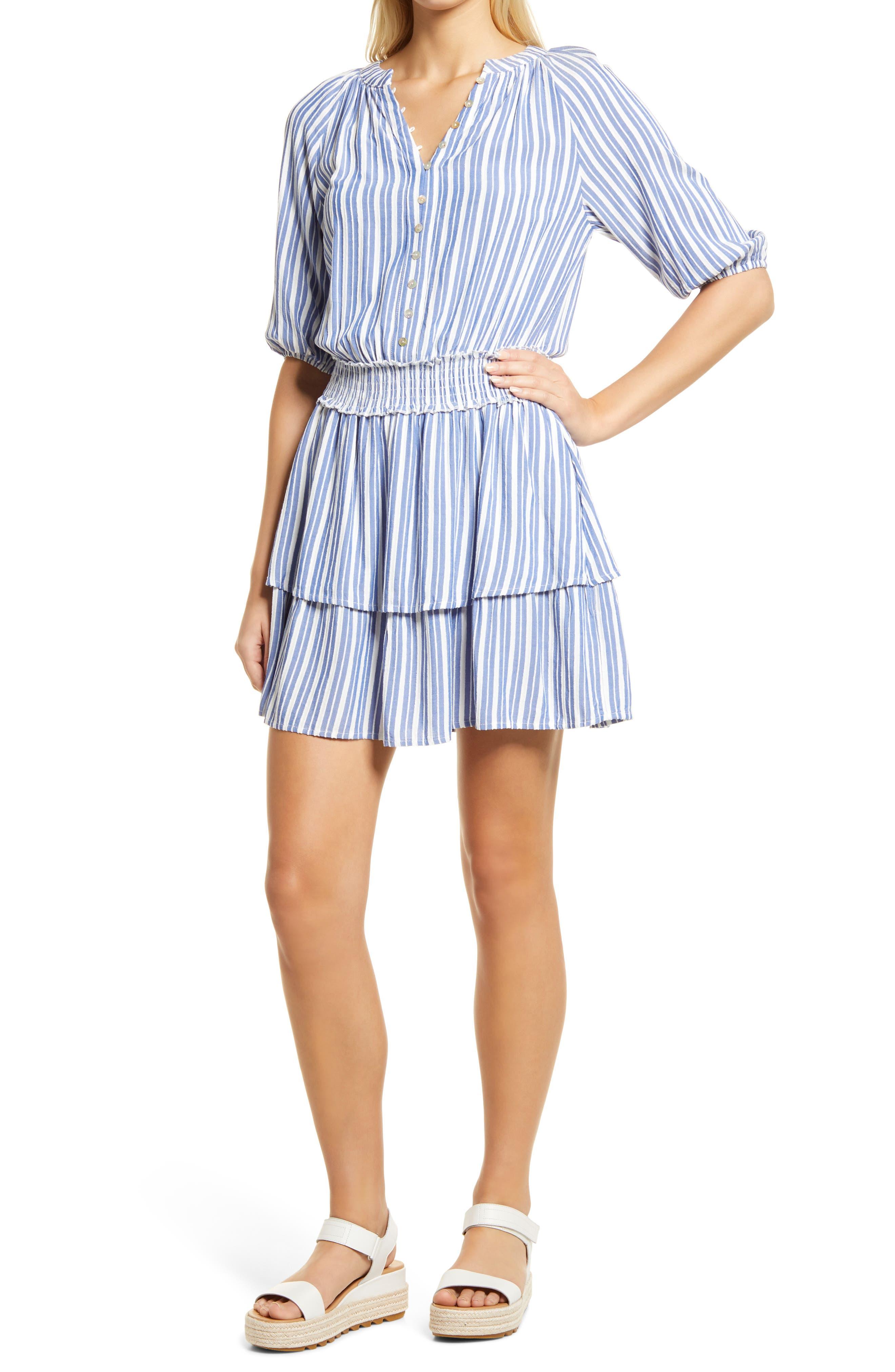 Stripe Short Sleeve Smock Waist Minidress