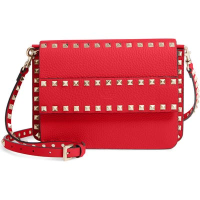 Valentino Garavani Small Rockstud Calfskin Leather Shoulder Bag - Red