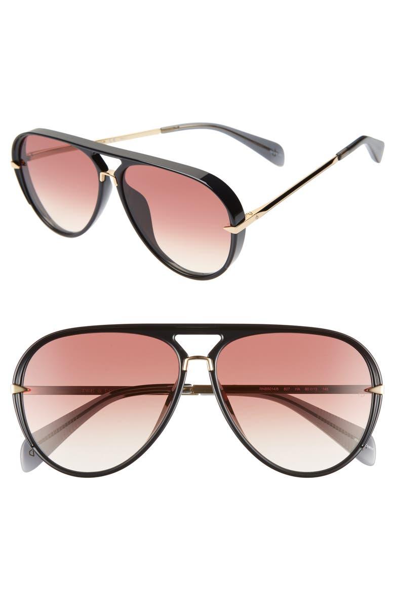 RAG & BONE 60mm Mirrored Aviator Sunglasses, Main, color, BLACK