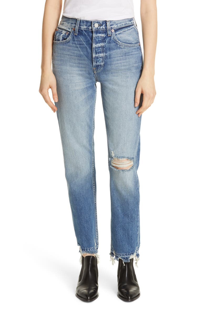 TRAVE Constance High Waist Ripped Straight Leg Jeans, Main, color, UNDER PRESSURE