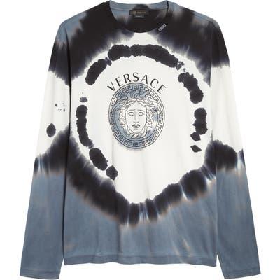 Versace Tie Dye Long Sleeve T-Shirt, Blue