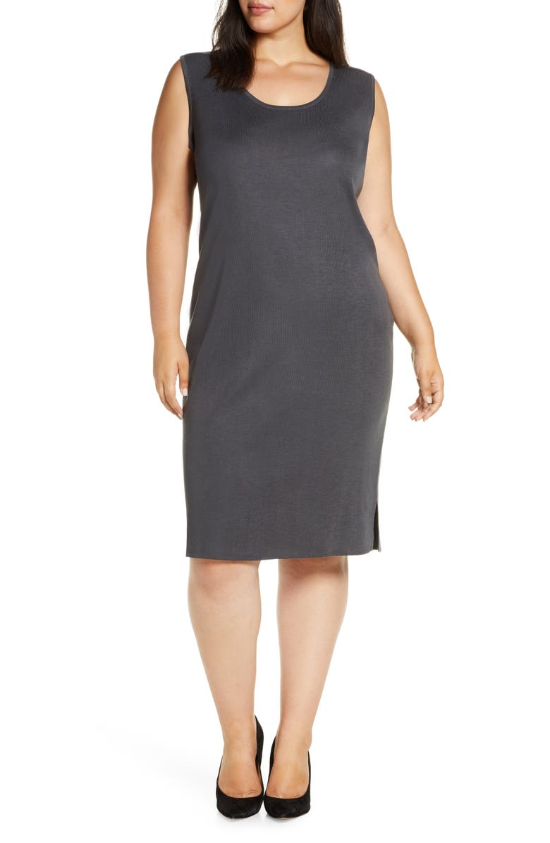 MING WANG Sweater Dress, Main, color, GRANITE