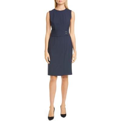Boss Dycelia Pinstripe Belt Detail Dress, Blue