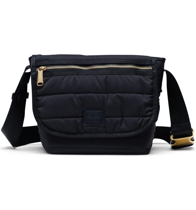 HERSCHEL SUPPLY CO. Mini Grade Quilted Messenger Bag, Main, color, BLACK