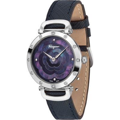 Salvatore Ferragamo Diamond Leather Strap Watch,