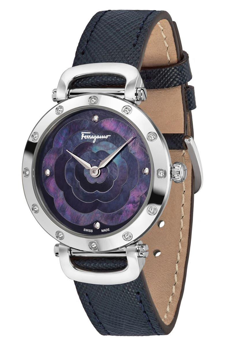 SALVATORE FERRAGAMO Diamond Leather Strap Watch, 34mm, Main, color, BLUE/ MOP/ SILVER