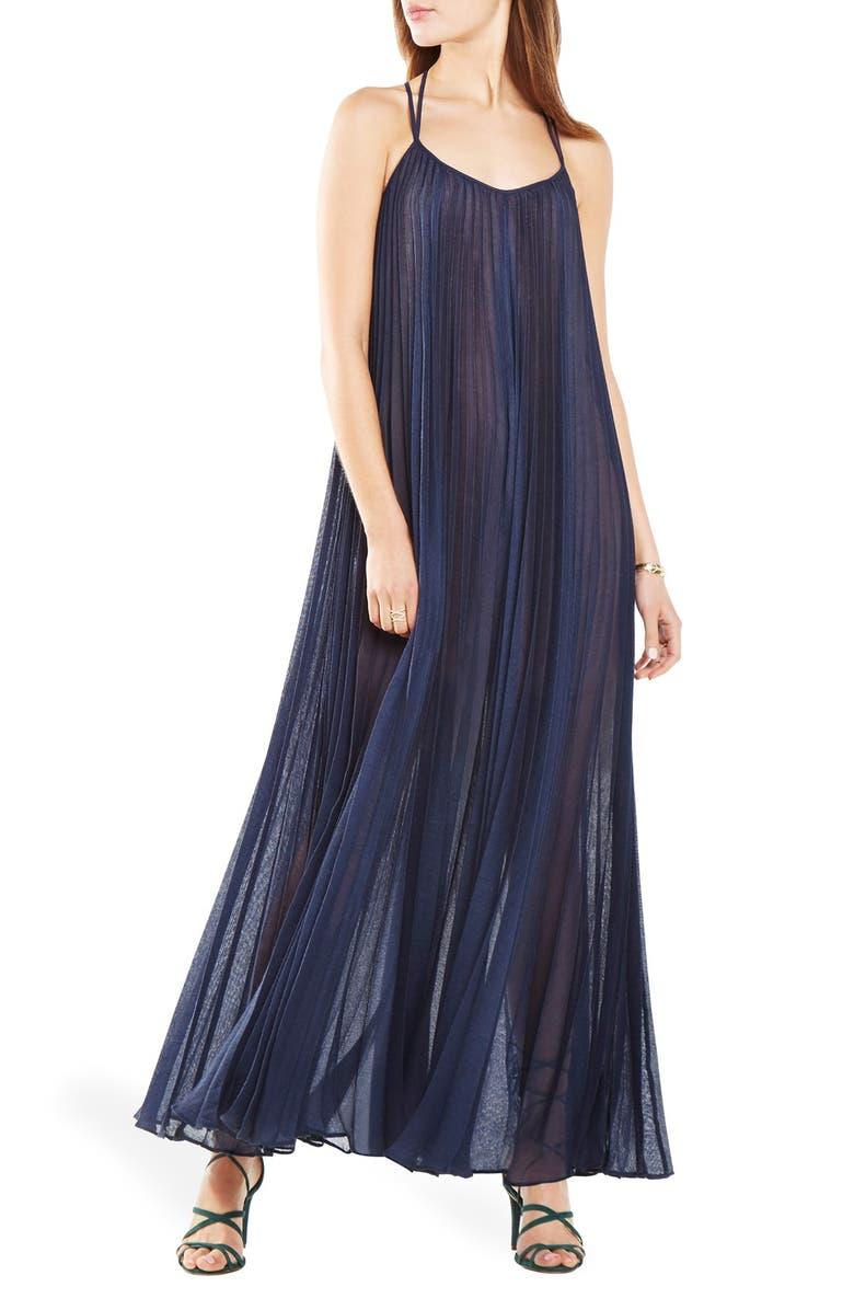 BCBGMAXAZRIA 'Isadona' Pleat Gauze Maxi Dress, Main, color, 480