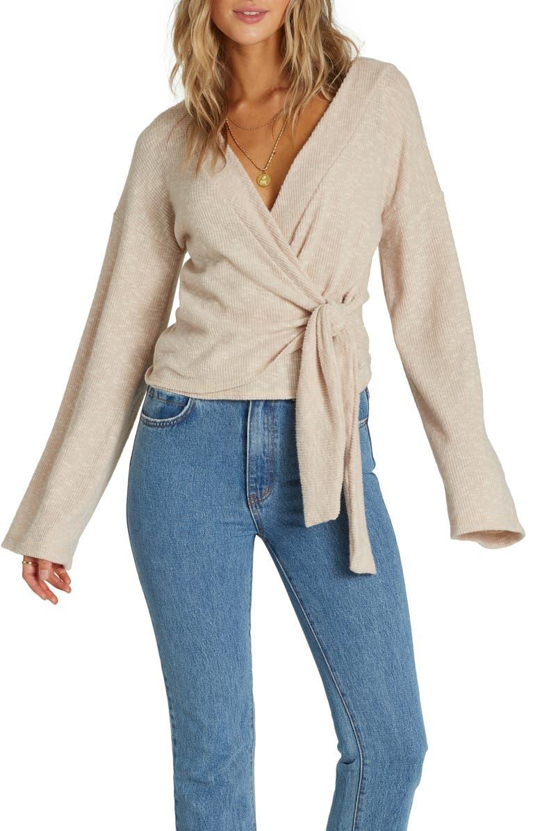 BILLABONG Wrap Mode Knit Top, Main, color, WARM SAND
