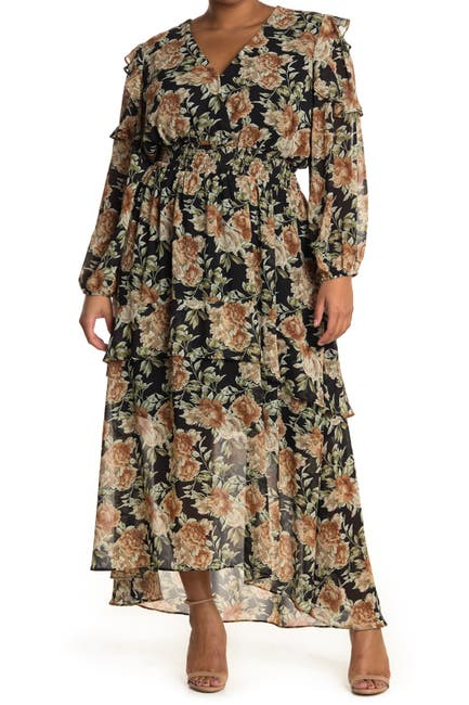 Image of ASTR the Label Floral Long Sleeve Maxi Dress